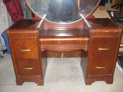 Mahogany Bedroom Furniture On Art Deco Waterfall Set 1930s 1940s Antique Vintage