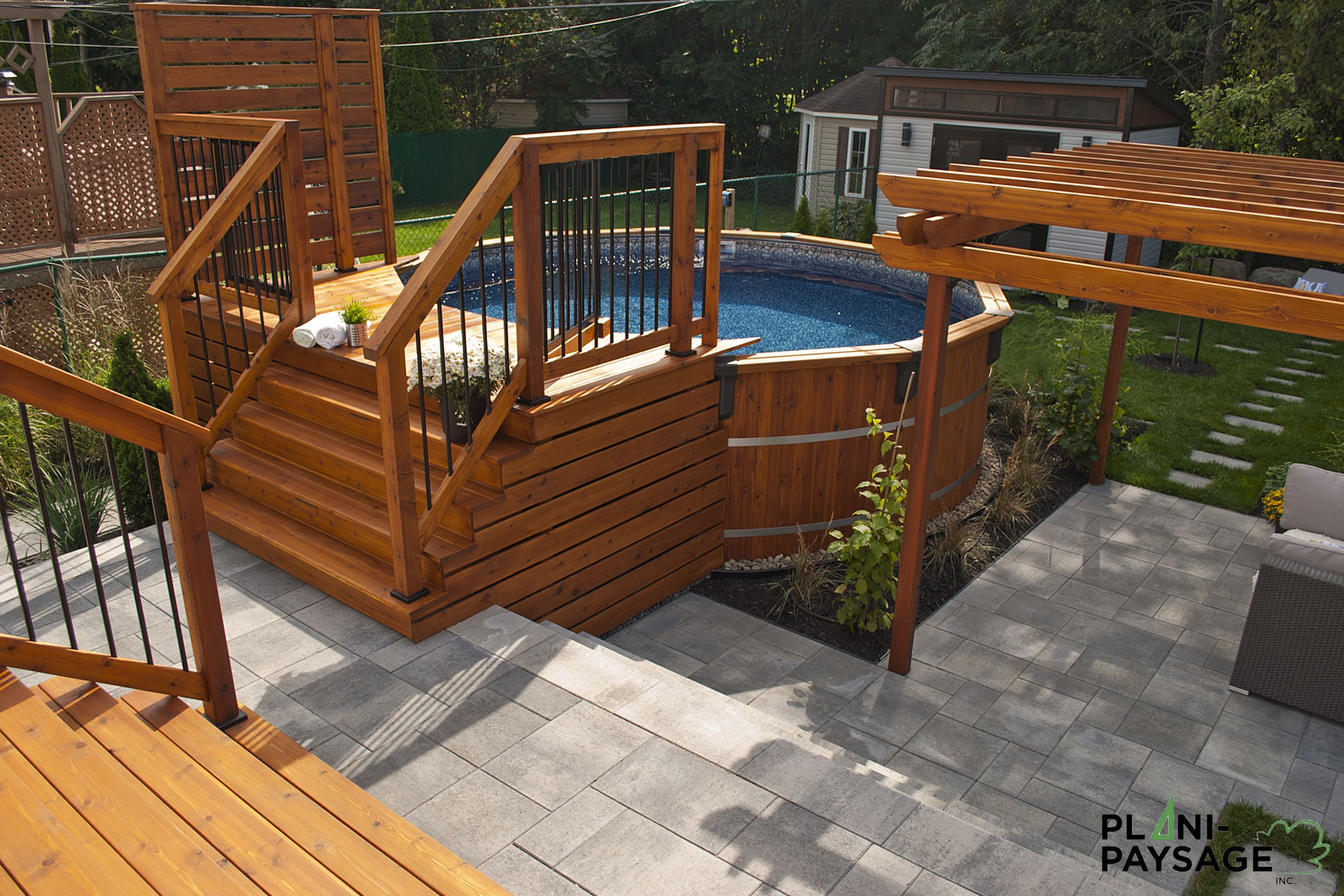 Plan de patio avec piscine hors terre google search for Club piscine pierrefonds