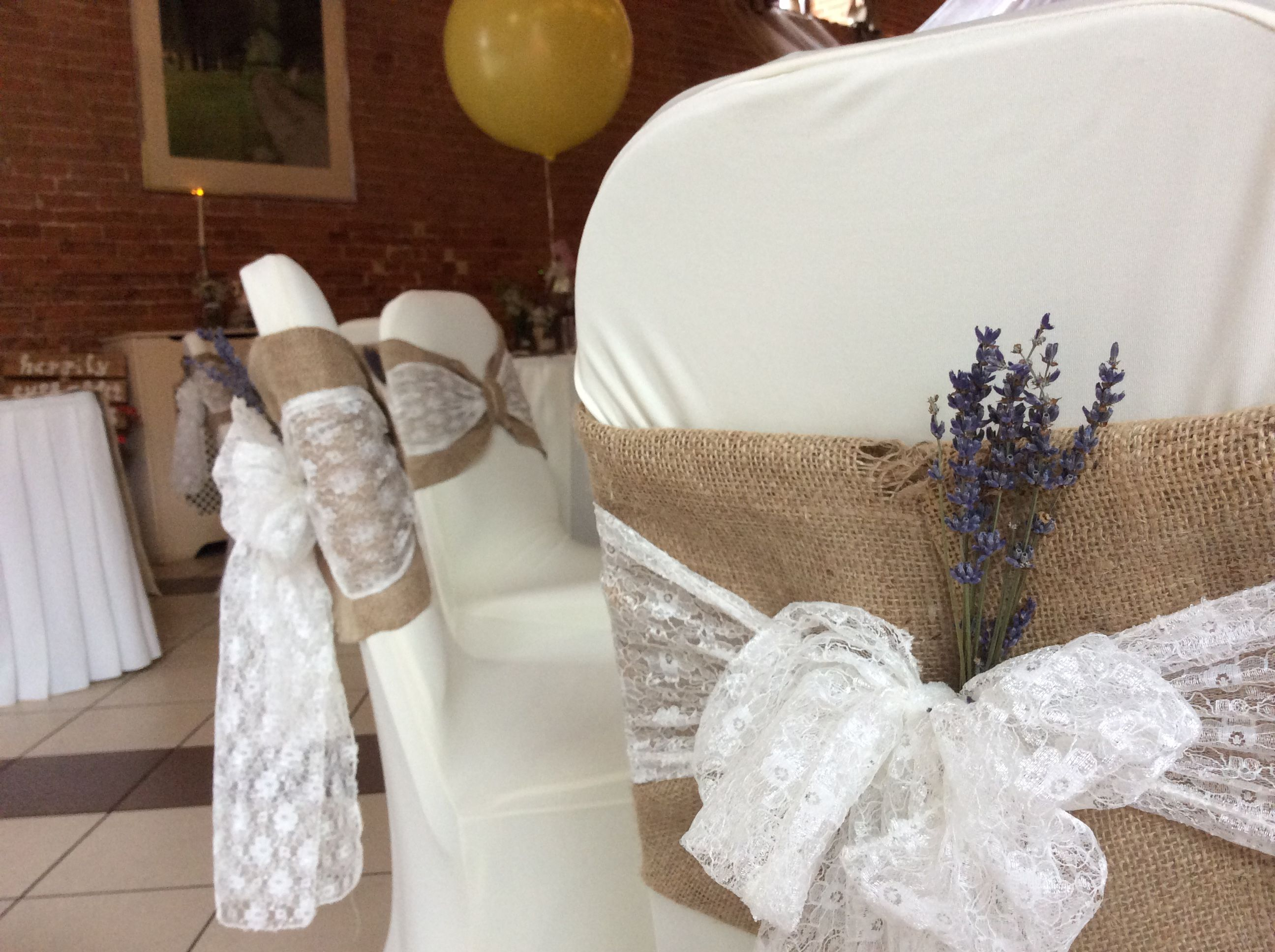 wedding chair covers pinterest bouncer baby age rustic hessian with a delicate lace sash and