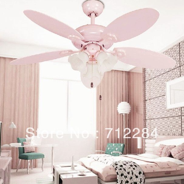 pink ceiling fans with lights for pink girl bedroom | teen bedroom