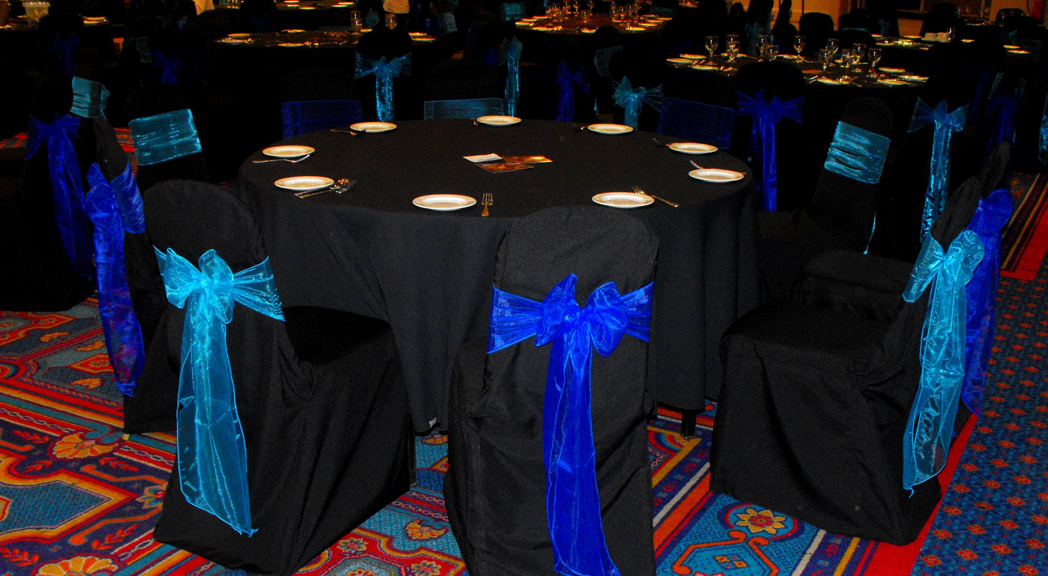 royal blue chair covers ergonomic nsn alternating turquoise and organza on black