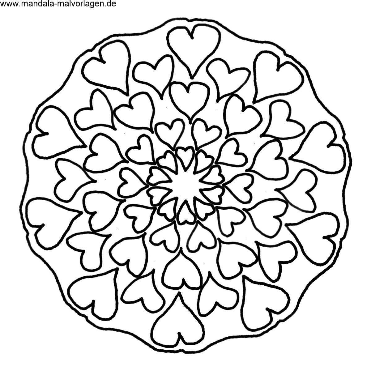 Free Mandala Herzen Malvorlage zum ausdrucken basteln
