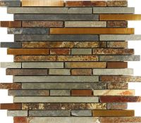 10SF Rustic Copper Linear Natural Slate Blend Mosaic Tile ...