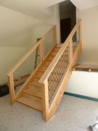 Timber staircase with hog wire railing | Stair railings ...