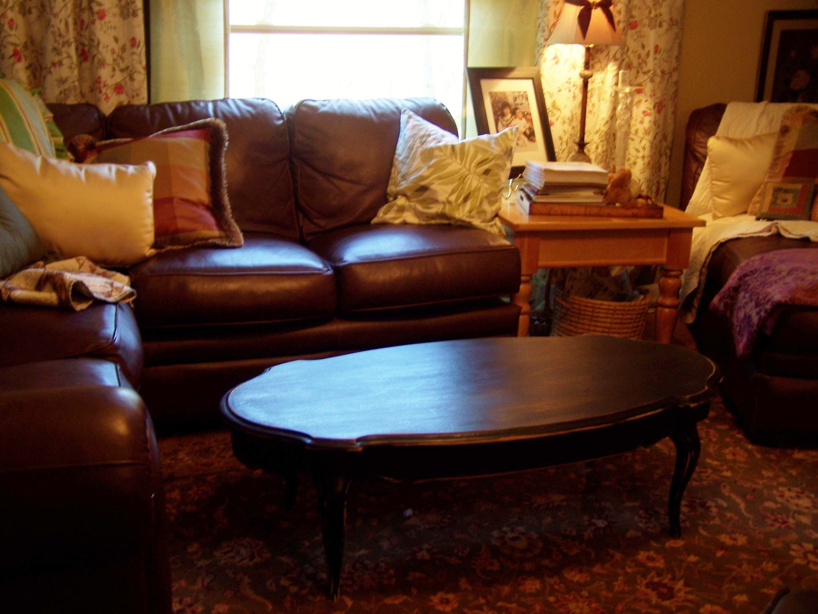 painted queen anne sofa table warehouses love the curvy legs on this now black distressed