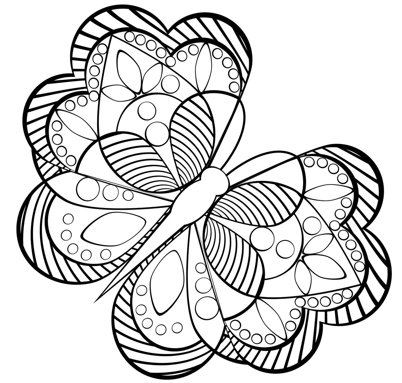 Free Printable Coloring Pages Adults Geometric With Butterfly