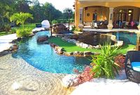 backyard oasis lazy river pool with island lagoon and ...