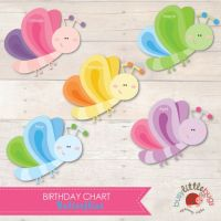 Busy Little Bugs Butterlies Birthday Chart for Educators ...