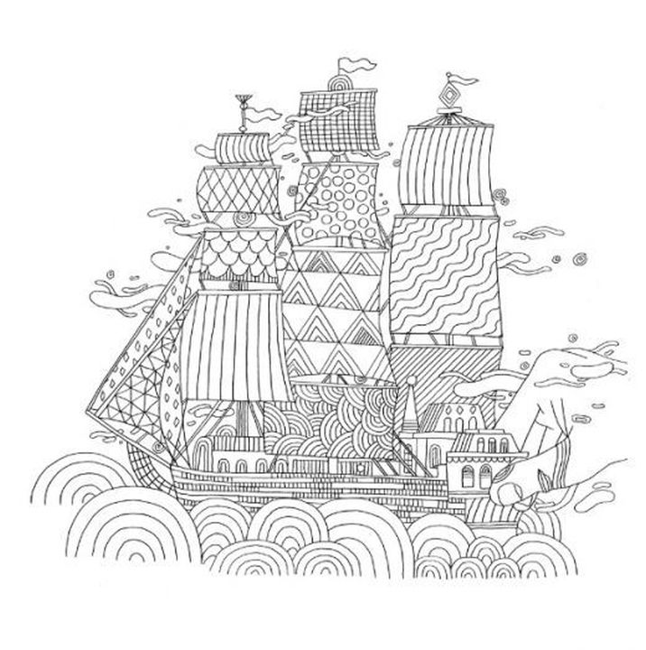 difficult ship zentangle art hard coloring pages for
