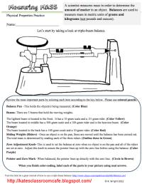 Triple Beam Balance Worksheet Problems | ... Science ...