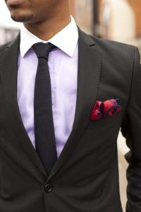 Black Suits With Purple Shirt