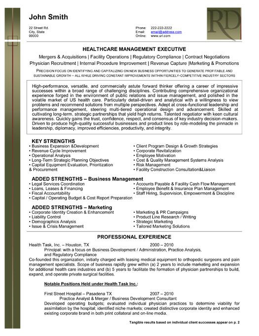 High Quality Click Here To Download This Health Care Management Resume Template Within Healthcare Executive Resume