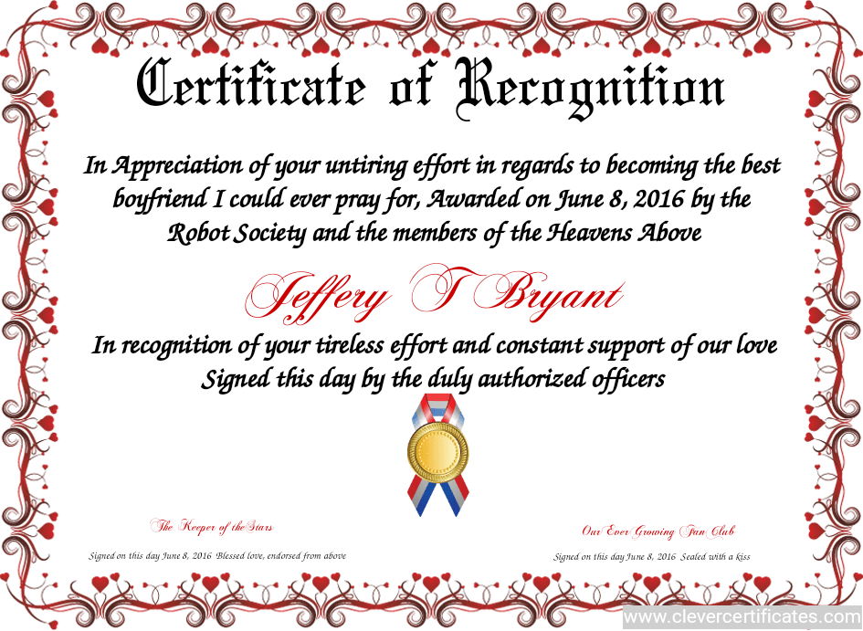 Certificate Of Recognition! FREE Certificate Templates