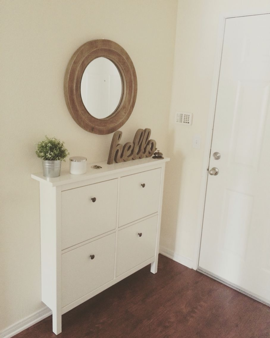Our Small Entryway Ikea Hemnes Shoe Cabinet Making A House A