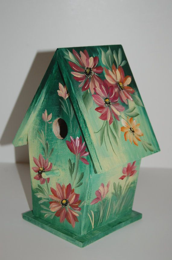 HAND PAINTED Decorative BIRDHOUSE With One Stroke Style Daisies