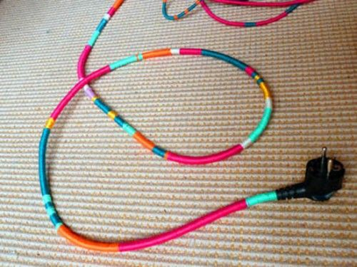 What a great idea to cover those ugly electrical cords I will definitely try this   Details