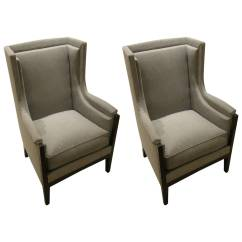 Grey Modern Armchairs Bamboo Chairs With Cushion Pair Of French Arts And Crafts Club Circa 1900s From A For Sale On Recently Reupholstered Design Padded Sides Ebony Frames