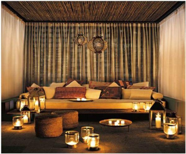 marokkanische Interior Designs wohnzimmer kerzen vorhnge