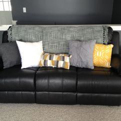Throw Pillows For Dark Brown Leather Sofa How To Make Your Firmer Lighten Up A Black Couch With Bright And