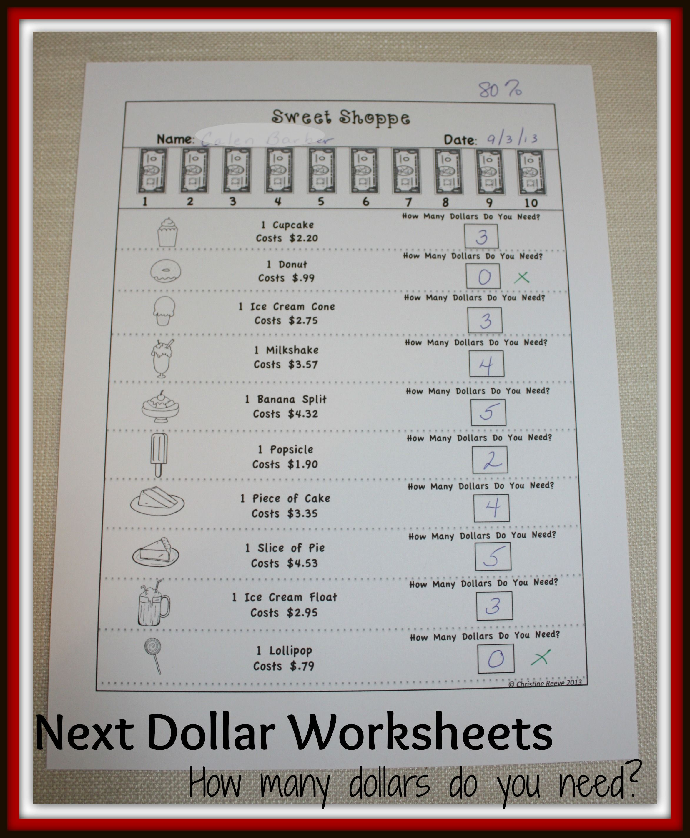 Next Dollar Up Worksheets Money Skills Special Education