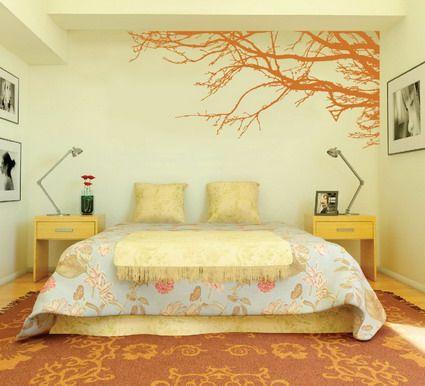 Amazing Orange Japanese Tree Garden For Modern Bedroom Wall Paint