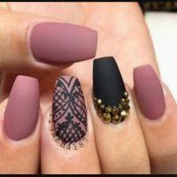 #nails #coffin #nude #pink #black | makeup | Pinterest ...