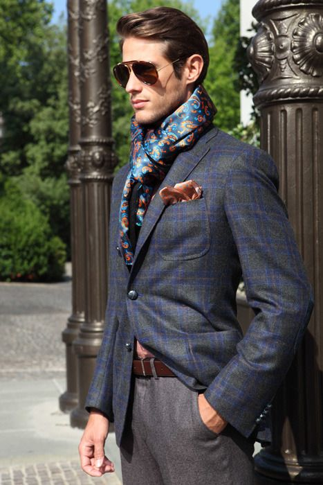 how to wear a big scarf men in suit