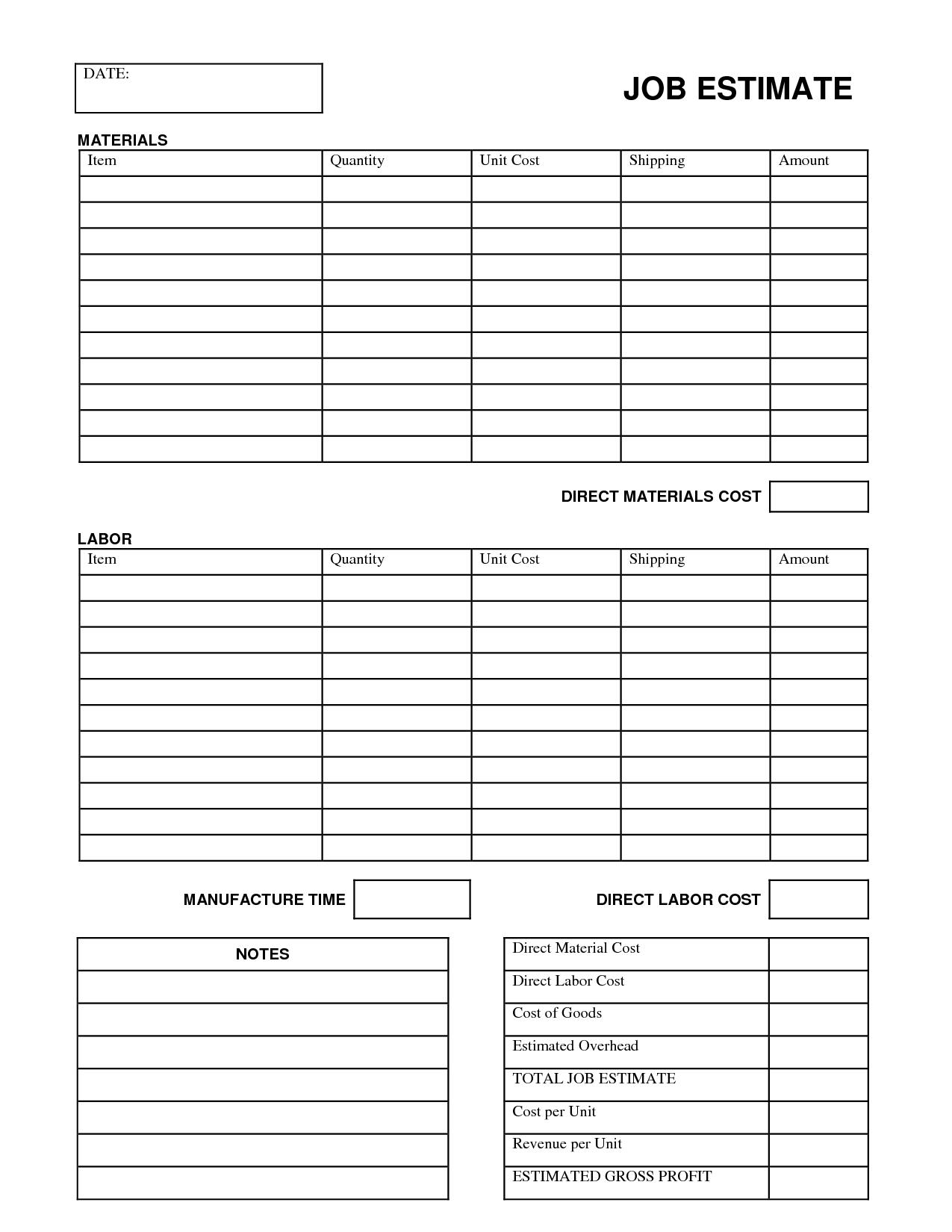 job cost sheet template excel