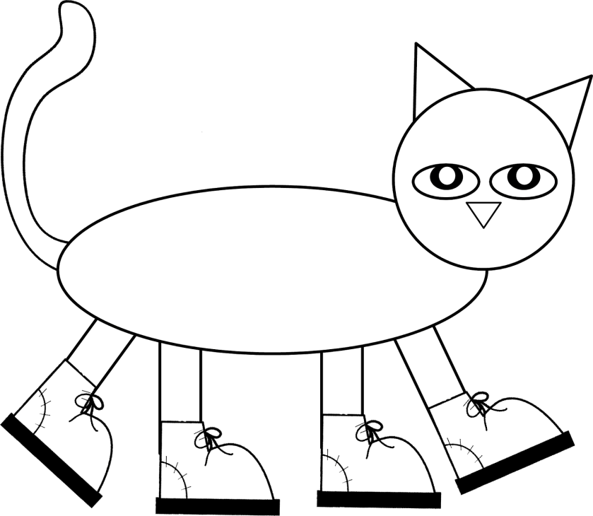 pete the cat pattern to color cut and assemble! children
