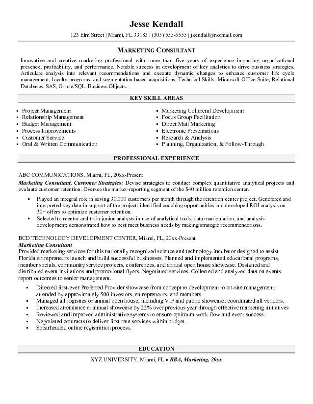 Marketing Consultant Resume Jobresumesample Com 550