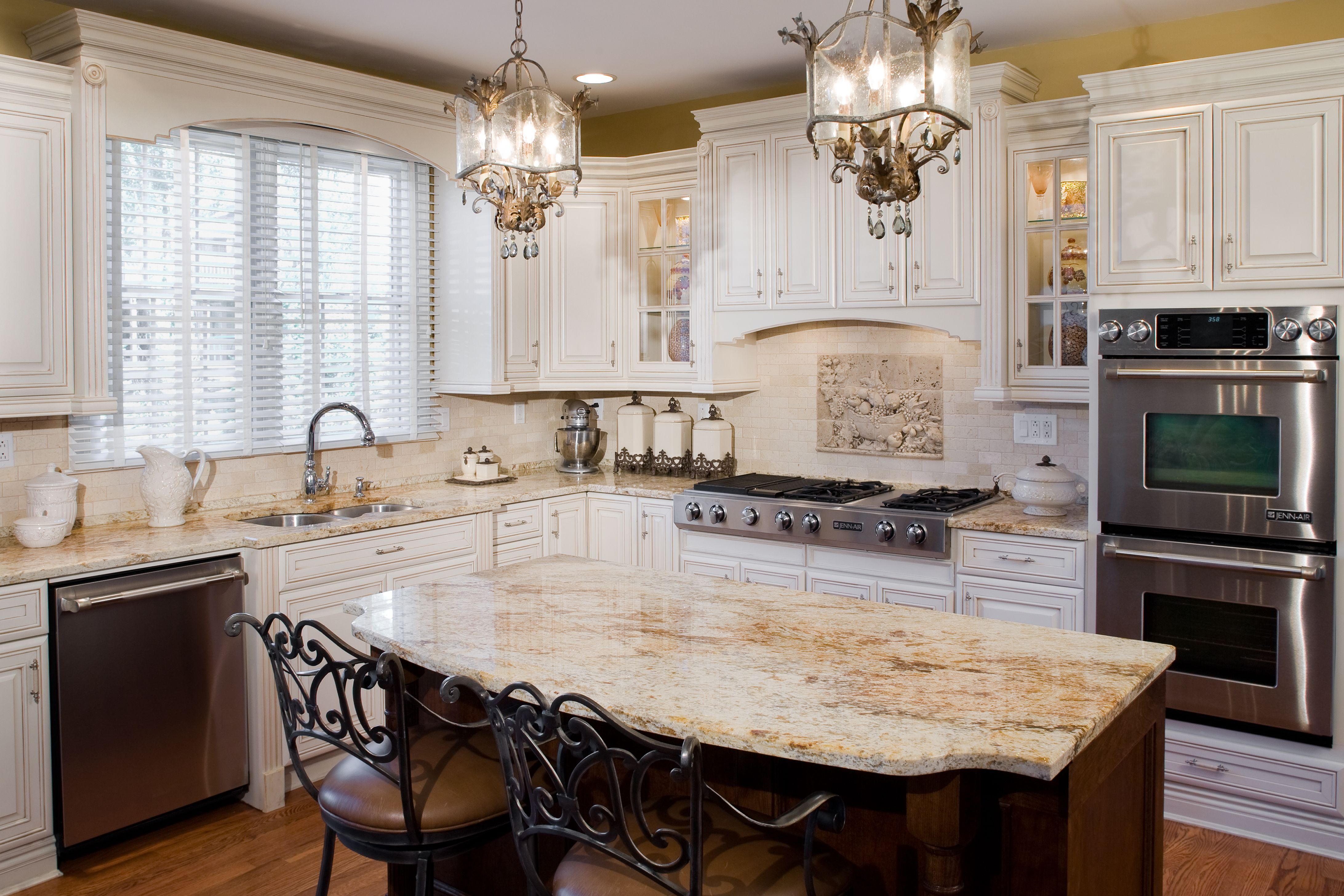 antique white kitchen cabinets portable outdoor tuscan jennair appliances