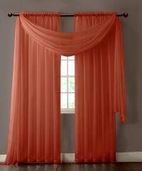 Warm Home Designs Pair of Orange Rust Sheer Curtains or ...