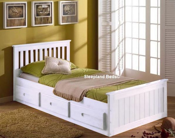 white single bed with storage sleepland beds
