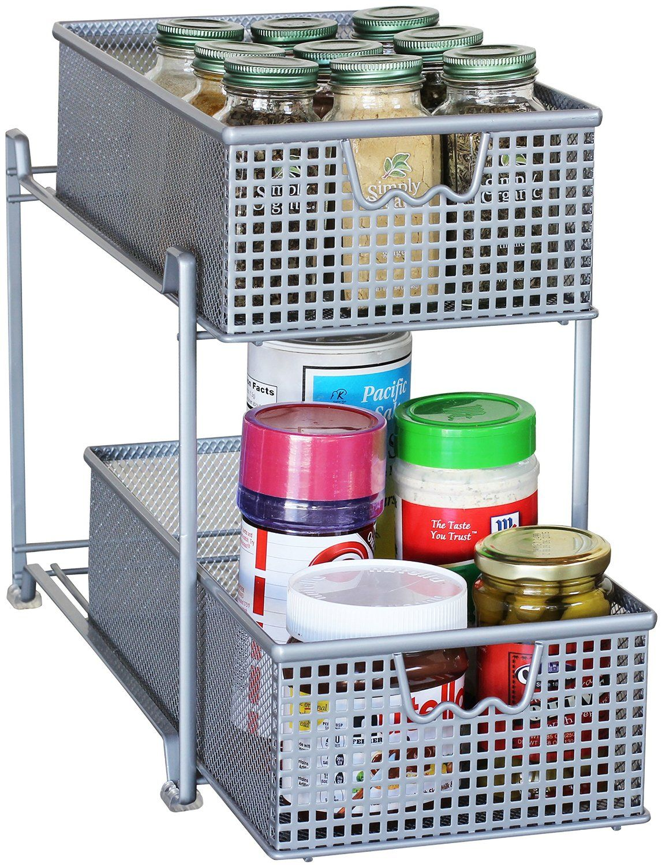 two tier kitchen drawer organizer classics denver decobros mesh sliding cabinet basket