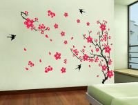YYone Plum Blossom Red Flowers Tree Branch Swallows Art ...