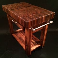 Butcher Block Kitchen Island Cart Portable With Seating Beautiful Black Walnut End Grain
