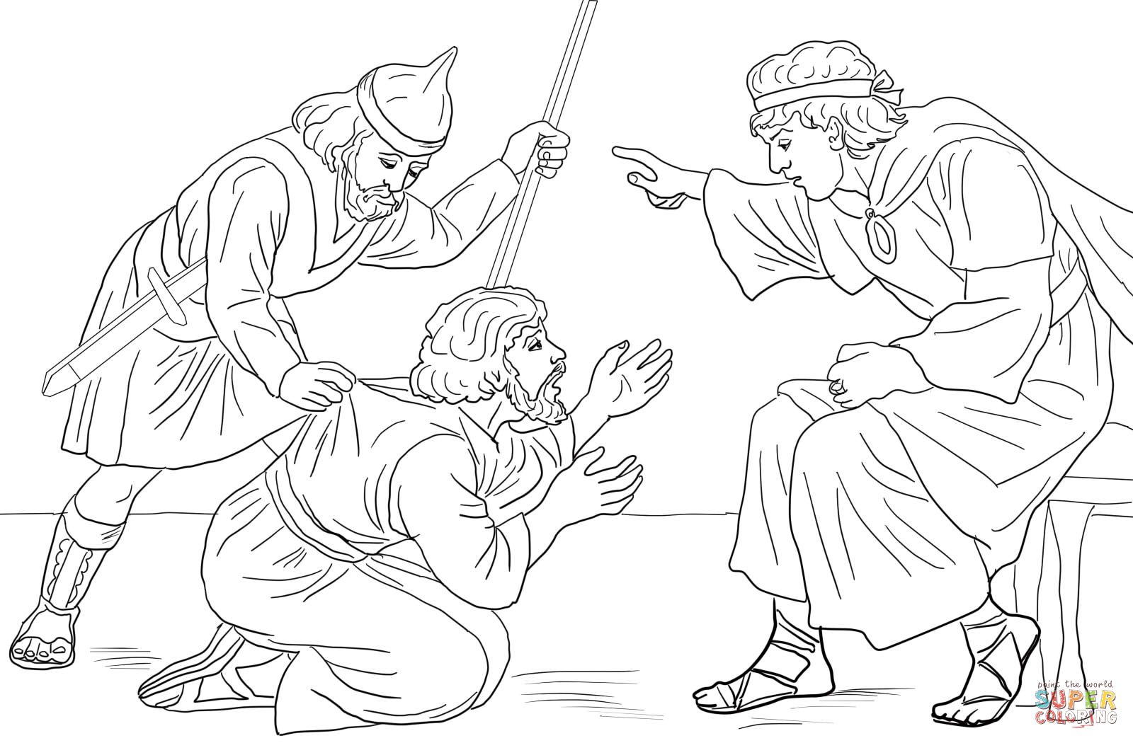 Coloring page for parable of the unmerciful servant (1600