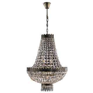 Metro Candelabra 6 Light Antique Bronze Finish And Clear Crystal Basket Mini Chandelier By Brilliance Lighting Chandeliers