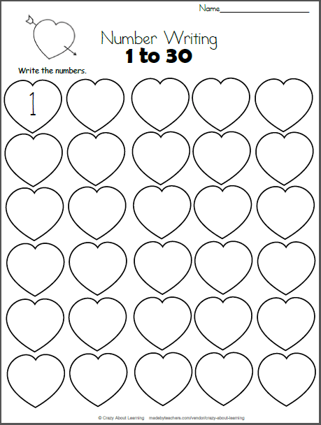 Free Valentine's Day math worksheet. Write the numbers