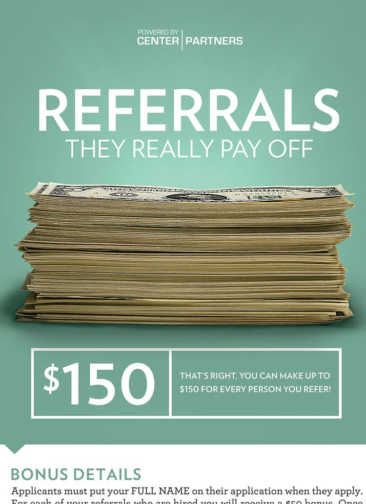 Center Partners — Employee Referral Program Poster Close