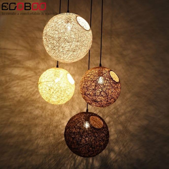 Modern Hemp Ball Chandelier Woven Rattan Creative Decorative Lighting Simple Window Diameter 30