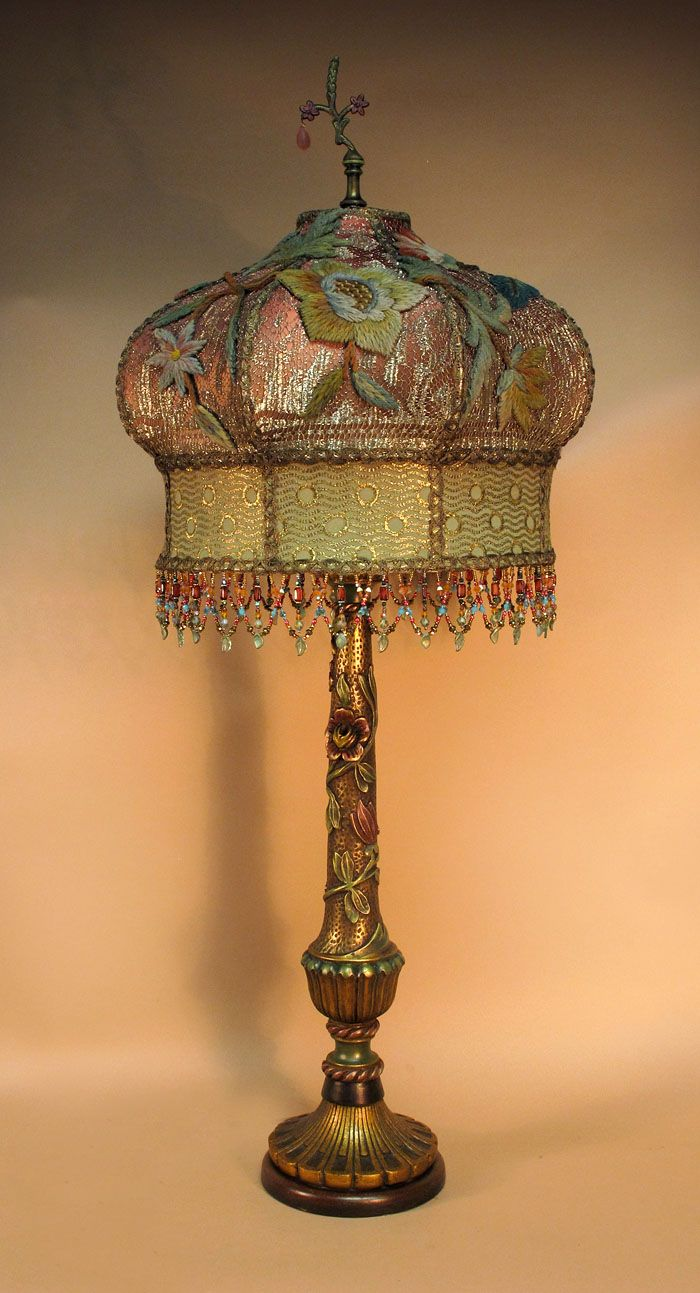 Antique table lamp with victorian lamp shade