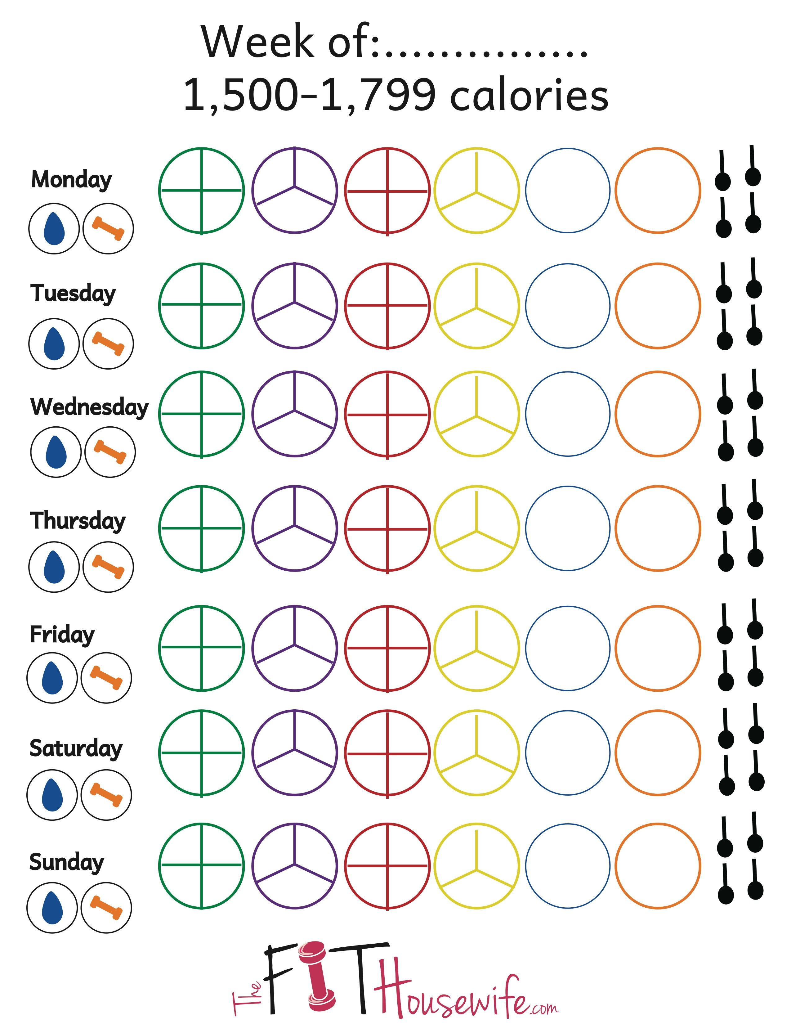 21 Day Fix Printable Tally Sheet Calories