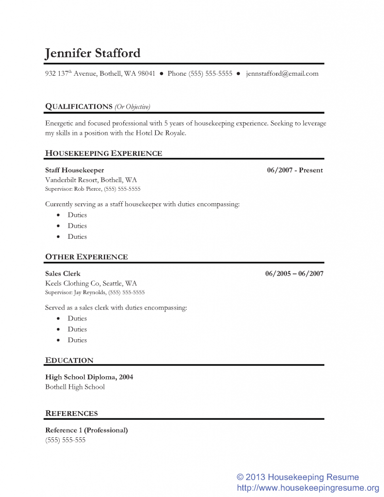 Lined Housekeeping Resume Template KEEPERS Pinterest