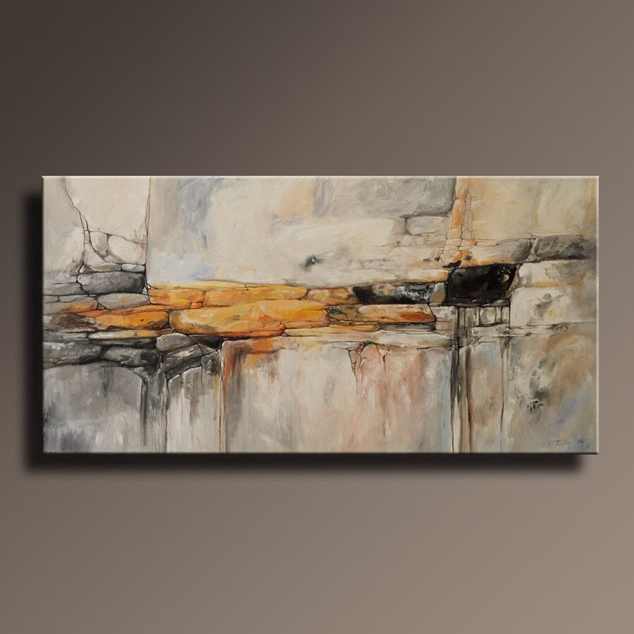 ORIGINAL ABSTRACT Painting Black White Yellow Gray Blue