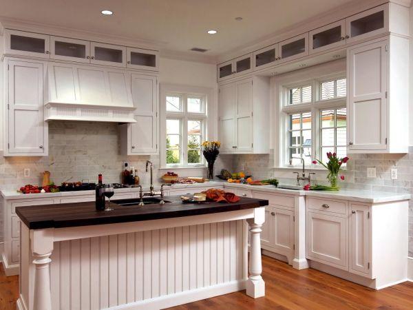 White Beadboard Kitchen with Island