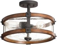 Distressed Black / Wood / Glass Semi Flush Mount Ceiling ...