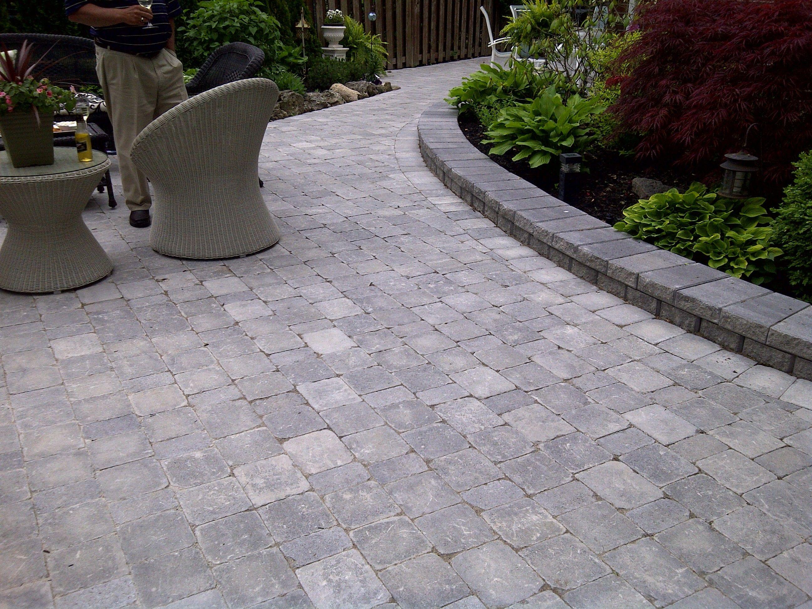 Interlocking stone patio using Brussels block Unilock