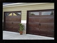 Finished product. . Gel stained aluminom garage doors to ...