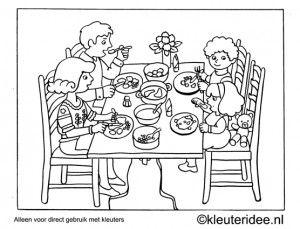 Kleurplaat diner, kleuteridee , Preschool coloring, dinner